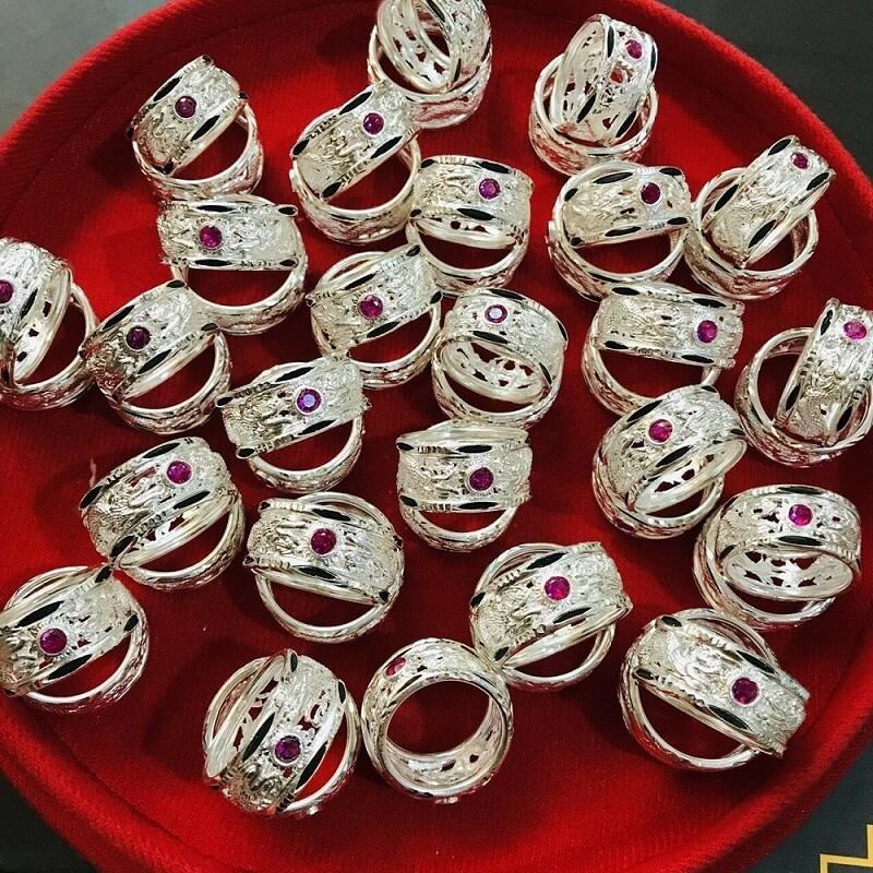 Nhẫn bạc Rồng đính đá Cz phong thủy chất