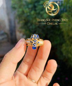 nhan con coc vang dinh da xanh duong mini phong thuy