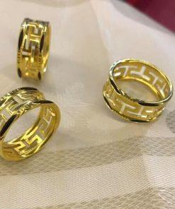 Nhẫn nam chữ VẠN đục 2 viền vàng đúc lông voi phong thủy - Bảng 9li - HÀNG FAKE độc đáo với hoa văn chữ Vạn