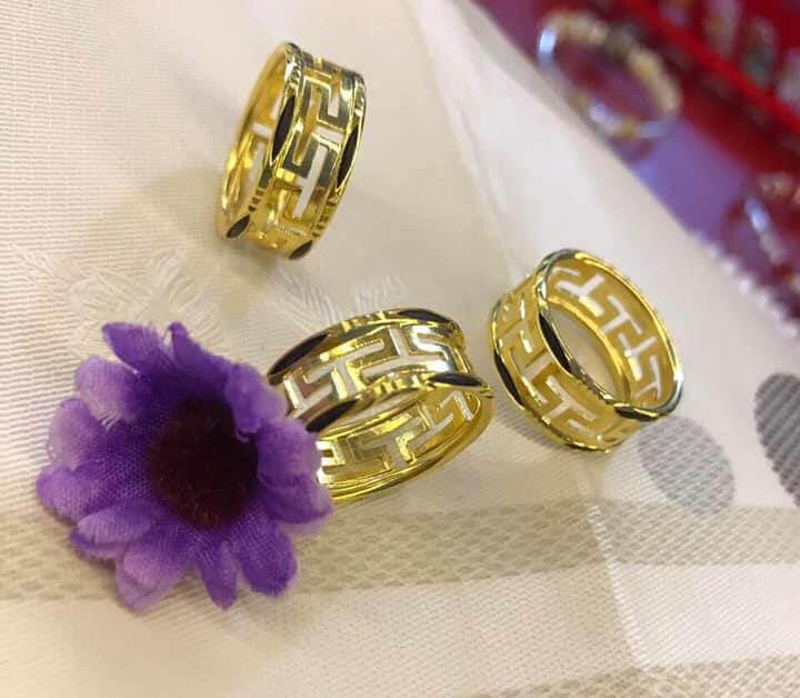 Nhẫn nam chữ VẠN đục 2 viền vàng đúc lông voi phong thủy - Bảng 9li - HÀNG FAKE giàu ý nghĩa