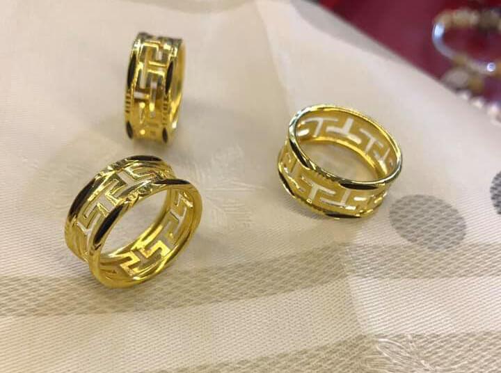 """Nhẫn nam chữ VẠN đục 2 viền vàng đúc lông voi phong thủy giúp nam nữ """"thuận buồm xuôi gió"""" trong công việc và cuộc sống"""