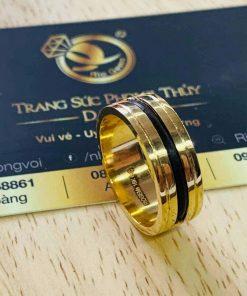 Nhẫn lông voi Nam làm tay 2 khía vàng - Bảng 9li RIOGEMs với thiết kế chia hai độc đáo
