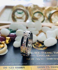 Nhẫn lông voi nam đính đá tấm Cz 2 viền vàng trắng phong thủy RIOGEMs