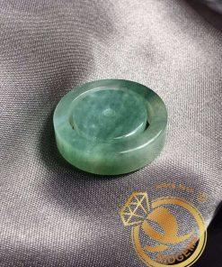 Nhẫn Ngọc Cẩm Thạch Jadeite xanh lá tươi bảng vuông 6li phù hợp với mệnh MỘC - HỎA