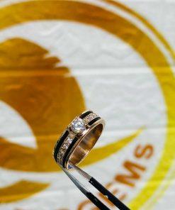 Nhẫn Nữ vàng Hồng đính đá 2 sợi lông voi - lông Fake phong thủy