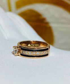 Nhẫn Nữ vàng Hồng đính đá 2 sợi lông voi - lông Fake thời thượng