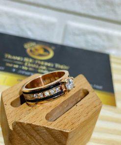 Nhẫn Nữ vàng Hồng đính đá 2 sợi lông voi - lông Fake độc đáo