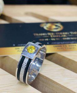 Nhẫn thỏi Vàng vàng Trắng chạy hoa văn đính Cz vàng luồng 2 lông voi RIOGEMs