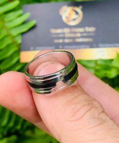 Nhẫn vàng trắng nam đẹp 18K được đính đá Cz tròn chậu vuông thời thượng
