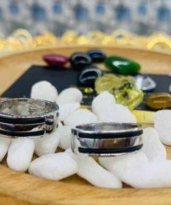 Cặp nhẫn vàng trắng 18K làm tay 2 sợi lông (lông FAKE) hợp mọi bản mệnh