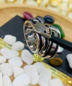 Cặp nhẫn vàng trắng 18K làm tay 2 sợi lông (lông FAKE) sáng tạo