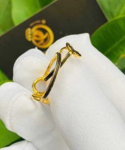 Cặp nhẫn vô cực vàng 18K cho nữ (lông FAKE) sang trọng, thời thượng