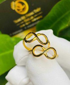 Cặp nhẫn vô cực vàng 18K cho nữ (lông FAKE) phong thủy
