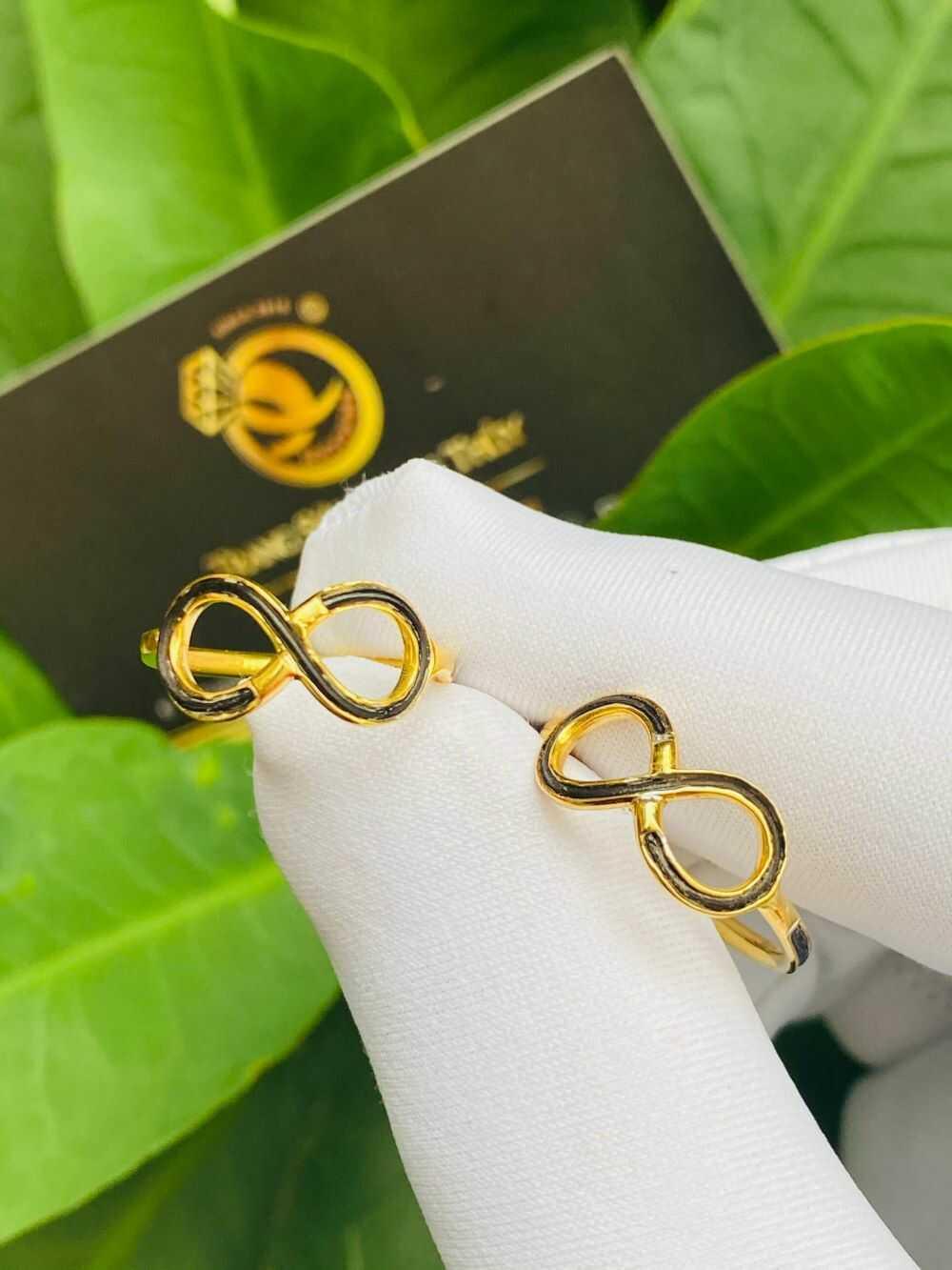 Cặp nhẫn vô cực vàng 18K cho nữ (lông FAKE) mang ý nghĩa trường tồn