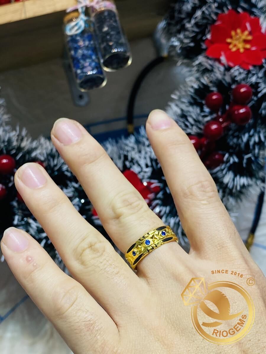 Cặp nhẫn đính đá Cz xanh dương – trắng luồng 2 sợi Lông FAKE chất lượng