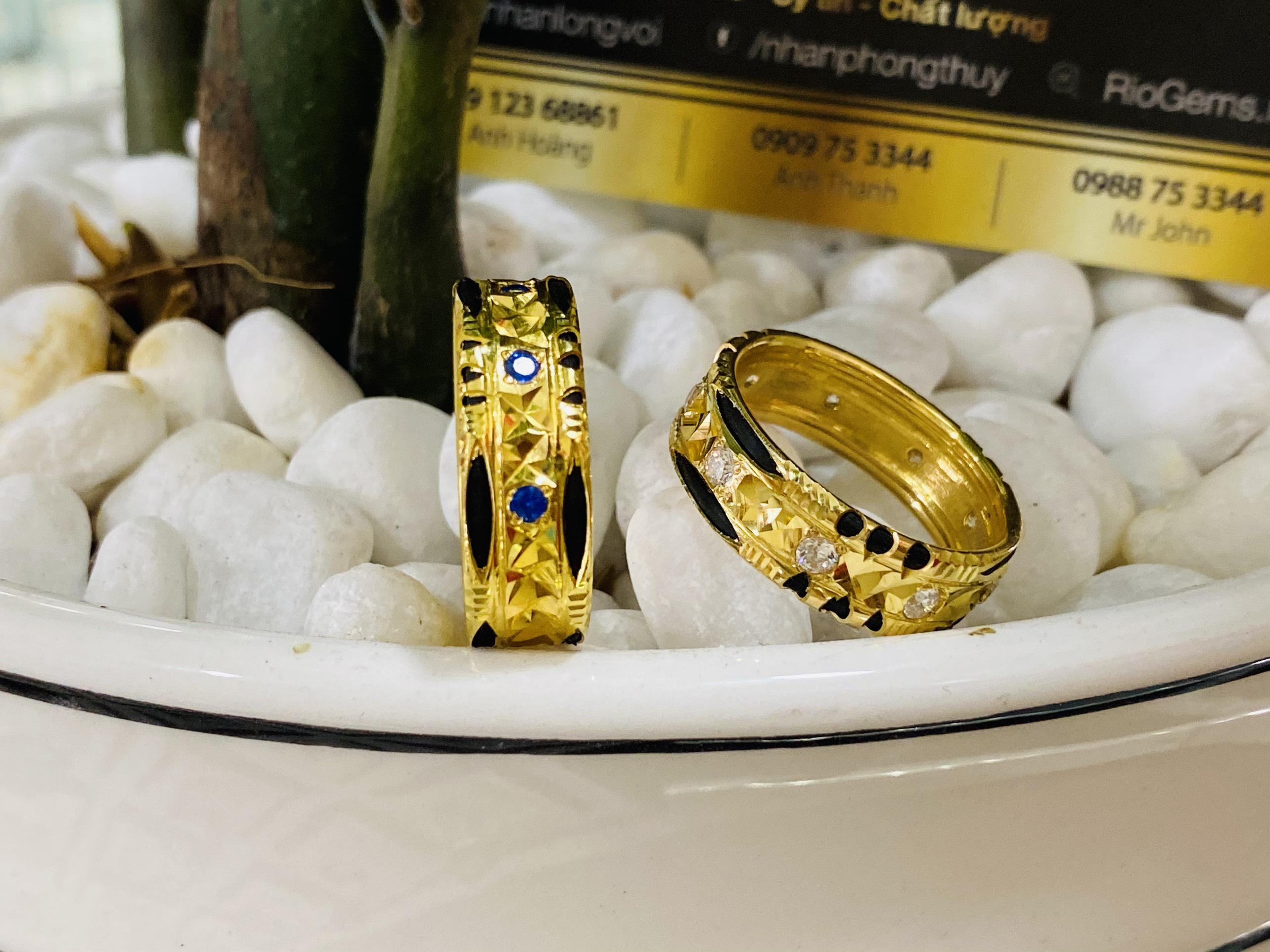 Cặp nhẫn đính đá Cz trắng đẹp mắt