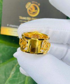 Nhẫn 2 Ngựa tranh Ngọc Thạch Anh Tóc Vàng