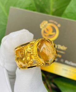 Nhẫn 2 Ngựa tranh Ngọc Thạch Anh Tóc Vàng gia công đẹp