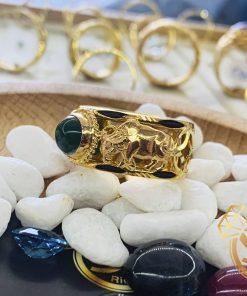 Nhẫn 2 Trâu vàng đính Ngọc Bích Canada được gia công bởi Riogems