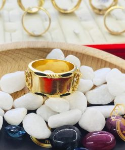 Nhẫn 2 Trâu vàng tranh Ngọc Bích Canada phong thủy
