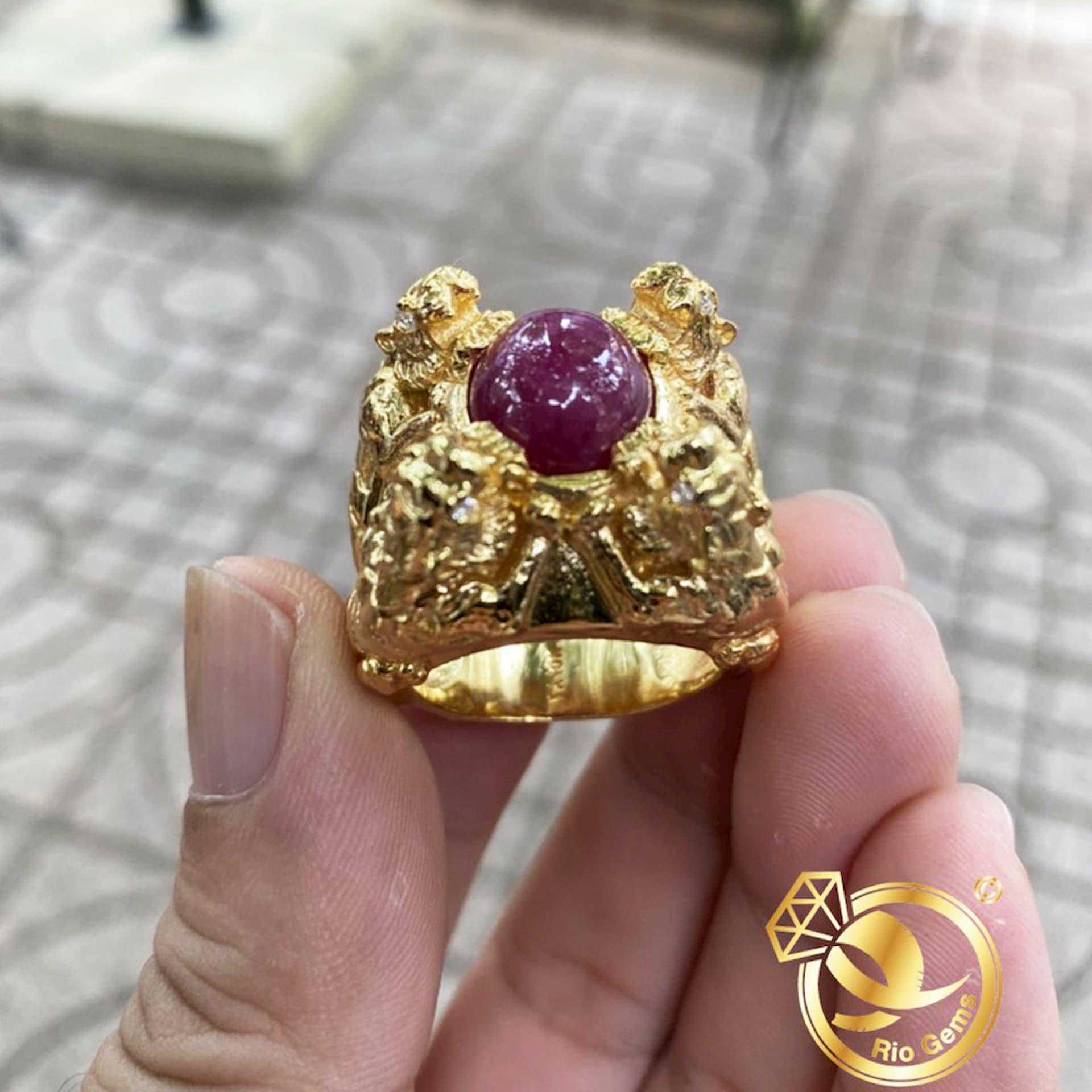 Nhẫn 4 CỌP vàng đúc nguyên khối chầu Ngọc
