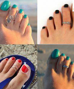 Nhẫn bạc hở đeo ngón chân thiết kế đẹp