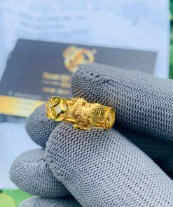 Nhẫn Bạch Ngọc 2 Gà 2 đồng tiền phong thủy sang trọng