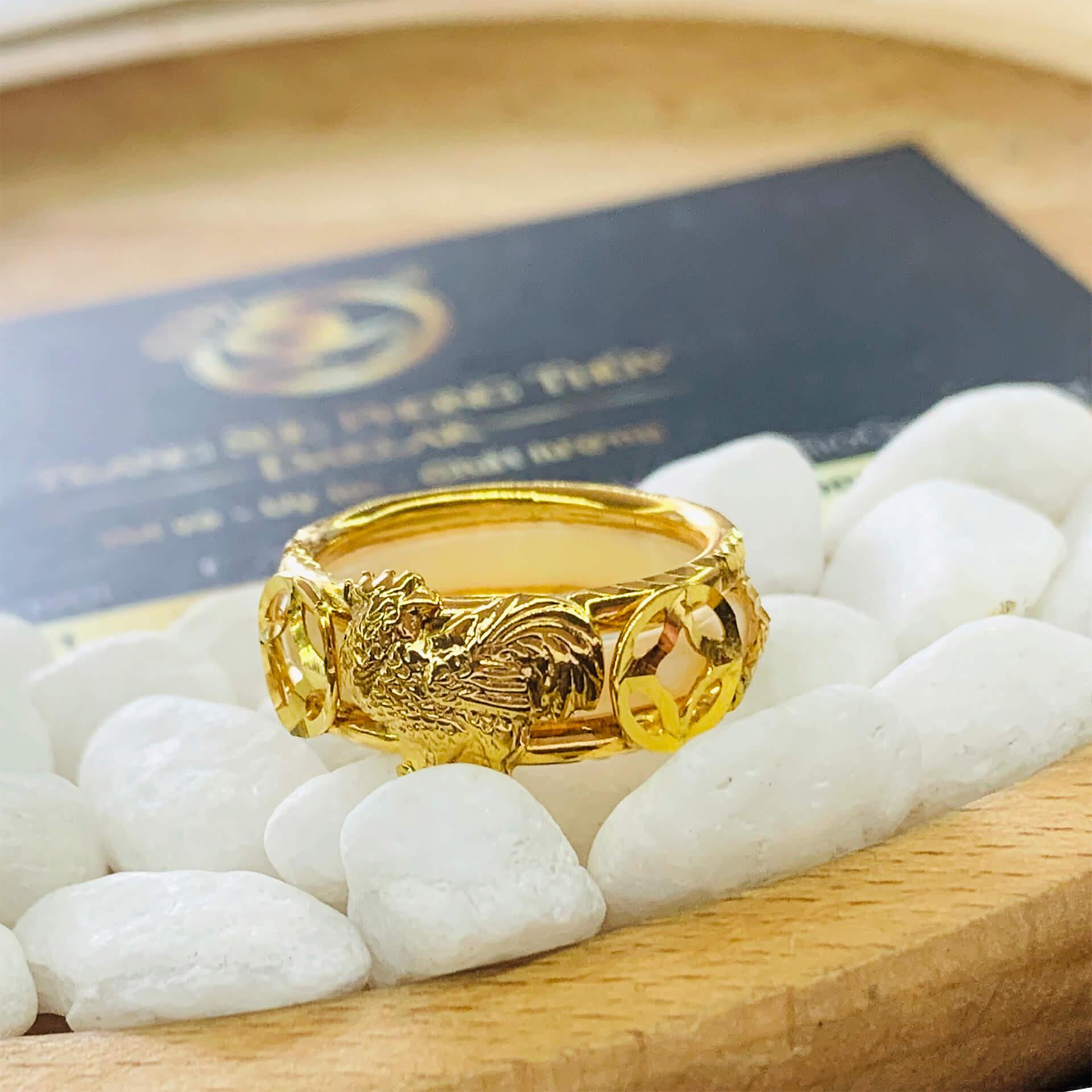 Nhẫn Bạch Ngọc 2 Gà 2 đồng tiền vàng