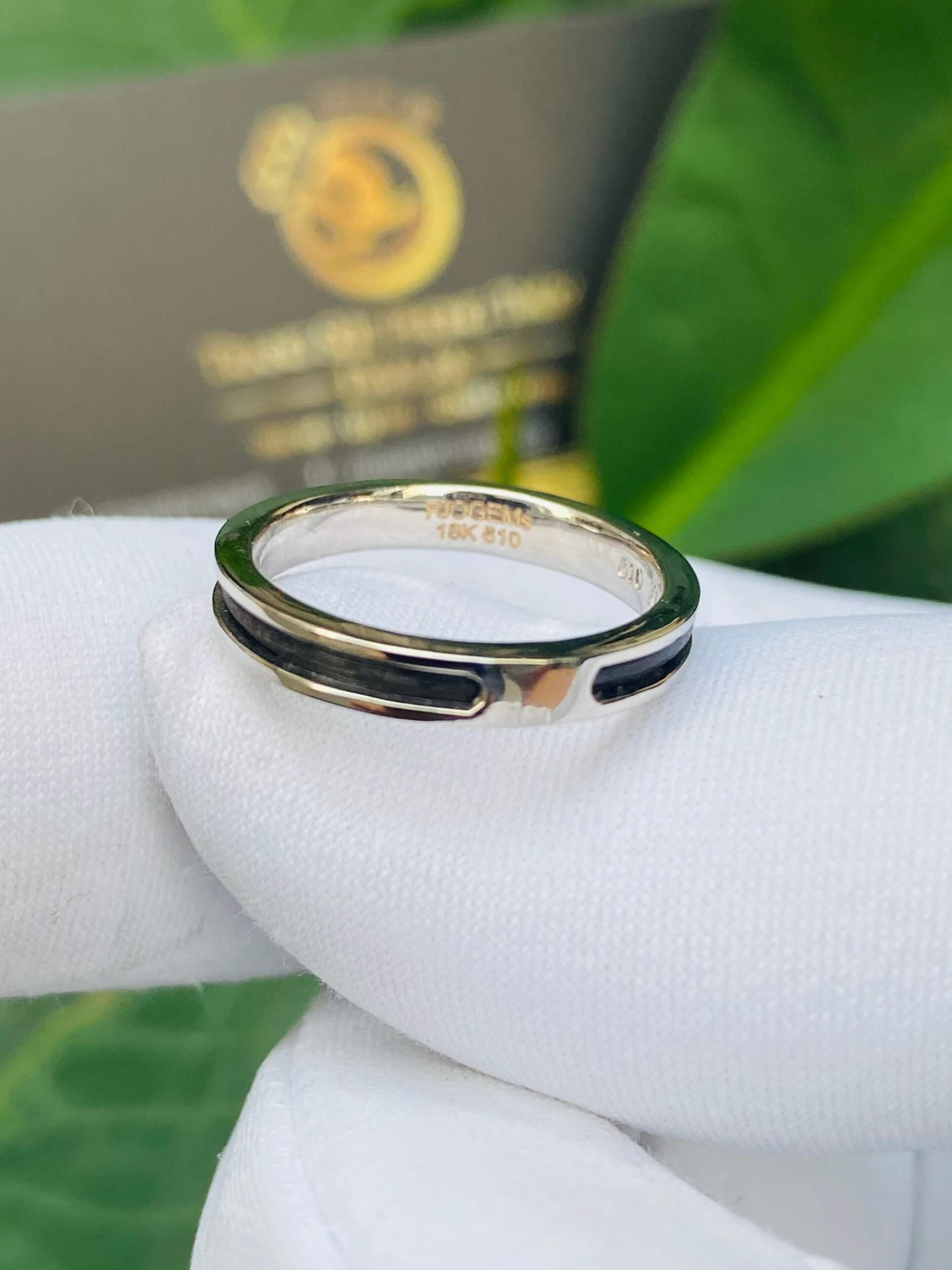 Nhẫn Lông Voi vàng trắng