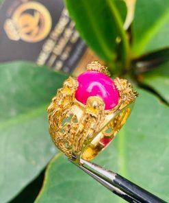 Nhẫn Lục Long vàng Mini chầu Ngọc Ruby thích hợp đeo ngón út
