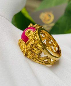 Nhẫn Lục Long vàng Mini chầu Ngọc Ruby đẹp