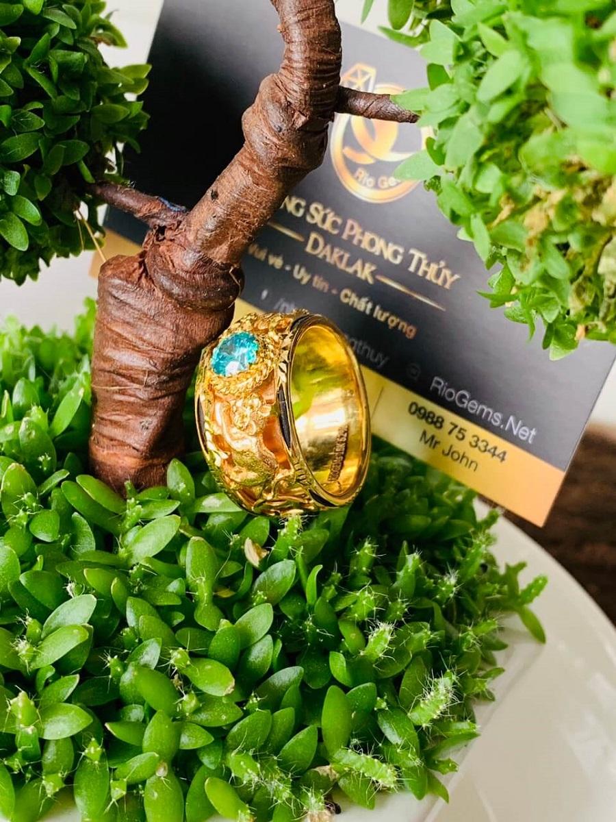 Nhẫn Mèo VÀNG 18K tranh Ngọc Cz xanh ngọc độc đáo