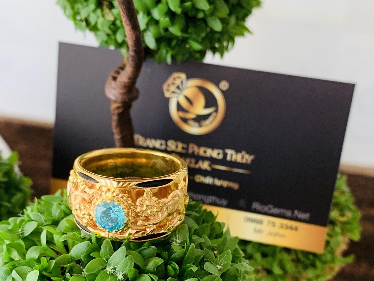 Nhẫn Mèo vàng tranh Ngọc Cz xanh ngọc