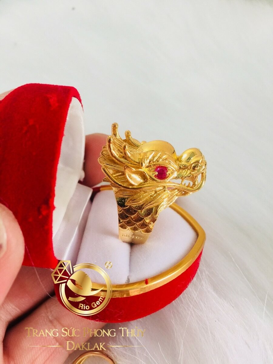 Nhẫn Đầu Rồng 3D – 7 chỉ vàng Tây 18K chất lượng cao