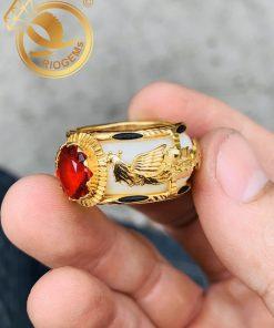 Nhẫn Rồng Phụng chầu ngọc đỏ phong thủy