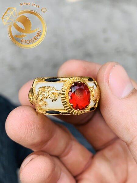 Nhẫn Rồng Phụng chầu ngọc đỏ đẹp