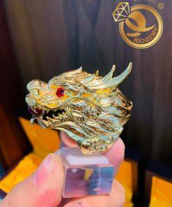 Nhẫn đầu Rồng 3D đính đá phong thủy hợp mệnh
