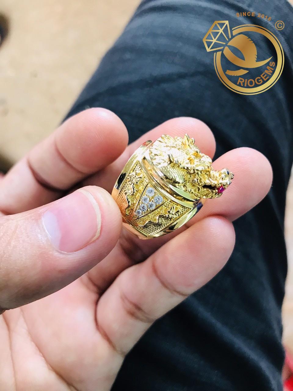 Nhẫn Đầu Rồng đính đá Mini phong thủy