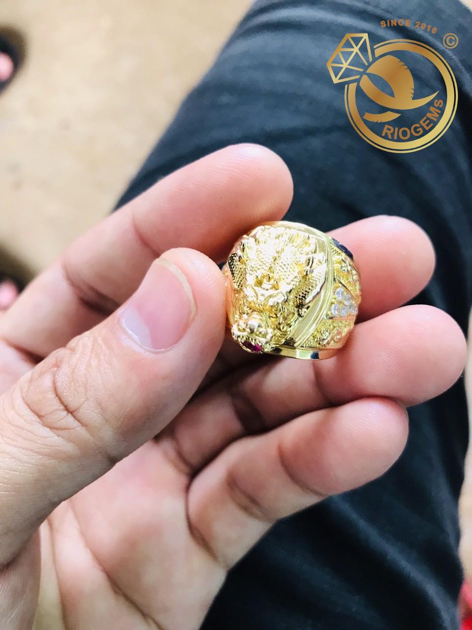 Nhẫn Đầu Rồng đính đá Mini đẹp mắt