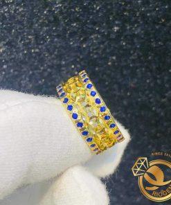Nhẫn Kim Tiền Múc Bén 2 viền đá xanh dương hợp mệnh kim