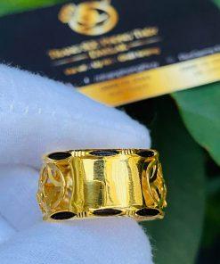 Nhẫn nam vàng 2 ngựa tranh Ngọc Citrine đính lông voi