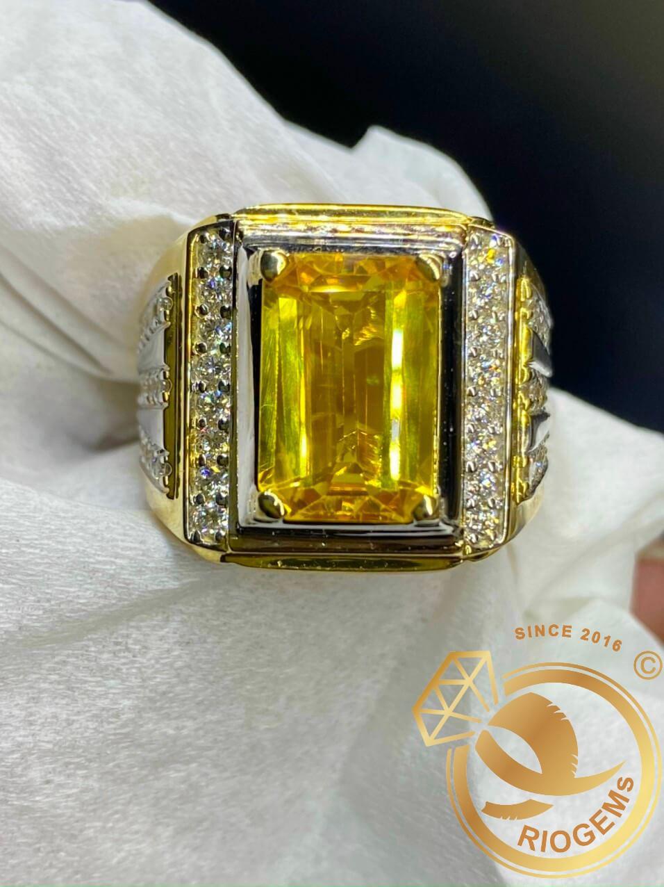 Nhẫn nam vàng đính Citrine vuông