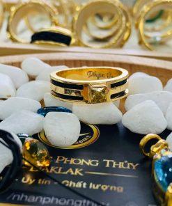 Nhẫn vàng nam mặt đá Cz vàng luồng 2 Lông Voi