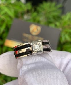 Nhẫn nam vàng trắng làm tay đính Cz trắng