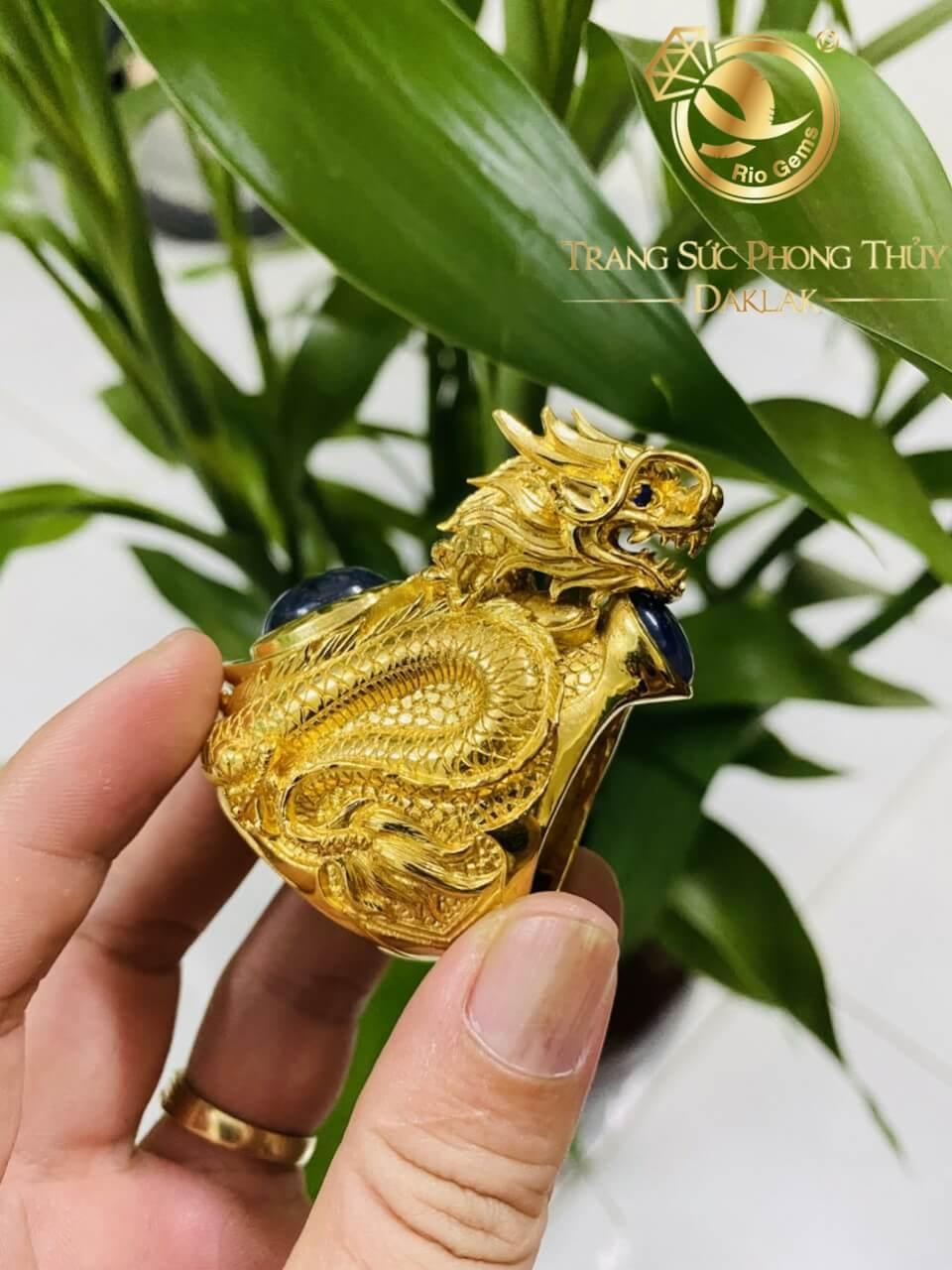 Nhẫn nguyên con RỒNG vàng 3D uy quyền