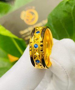 Nhẫn phong thủy nam nữ 3 viên đá xanh dương đẹp mắt và gia công tinh xảo
