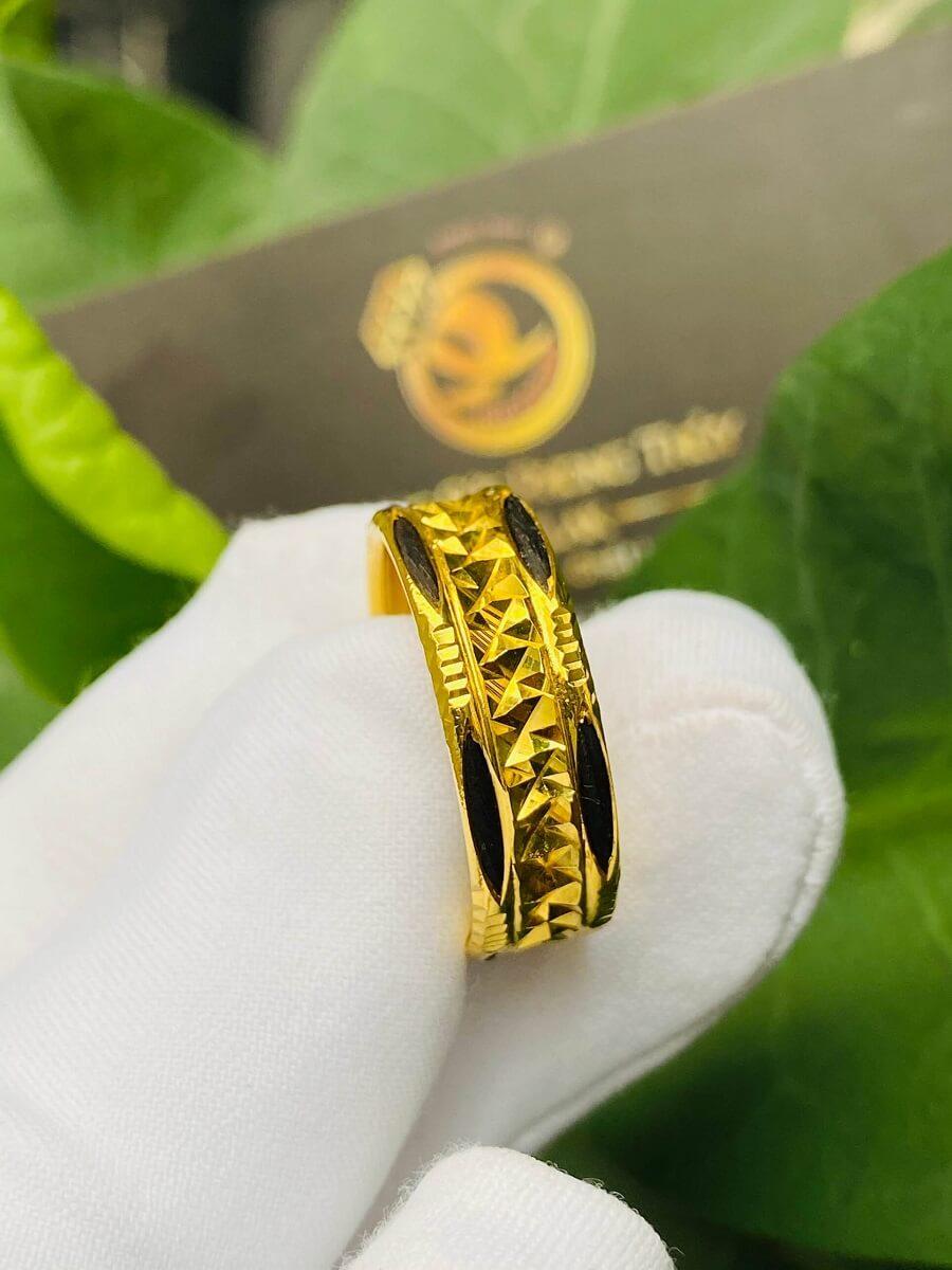 Nhẫn vàng nam nữ 2 đường Lông (lông FAKE) mang lại may mắn