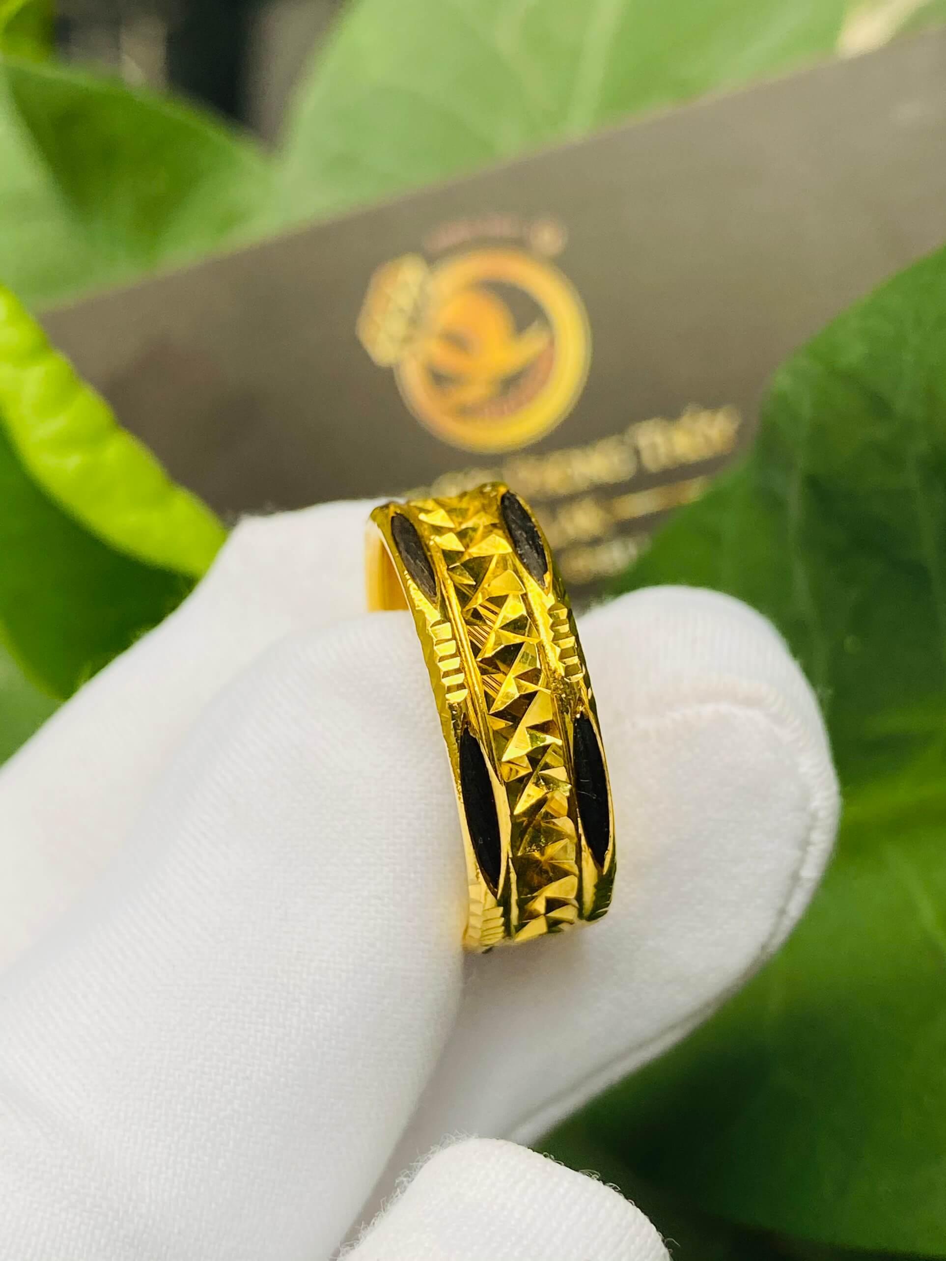 Nhẫn vàng nam nữ 2 đường Lông Voi đẹp mắt