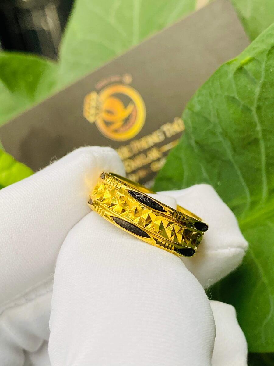 Nhẫn vàng nam nữ 2 đường Lông (lông FAKE) giá tốt