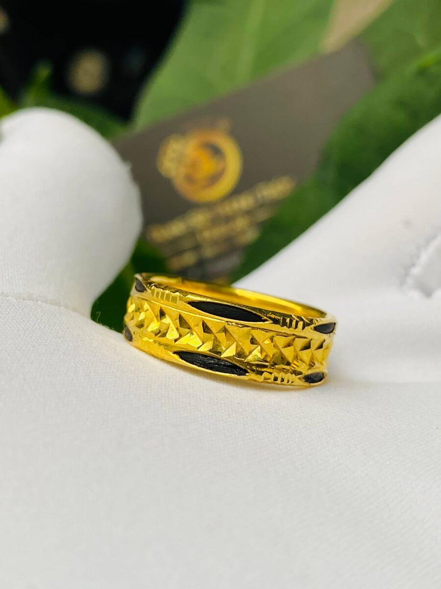 Nhẫn vàng nam nữ 2 đường Lông (lông FAKE) đẹp mắt